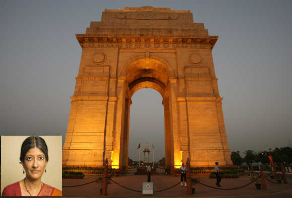 Jayati Ghosh (inset). A view of the India Gate in New Delhi.