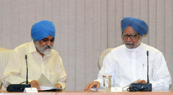 Government does not seem to have a plan B, she says. Prime Minister Manmohan Singh with Planning Commission Deputy Chairman Ahluwalia in New Delhi.