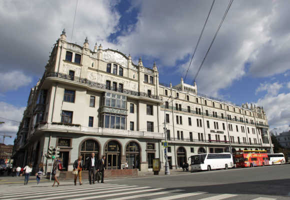 A view of the Metropol hotel in Moscow.