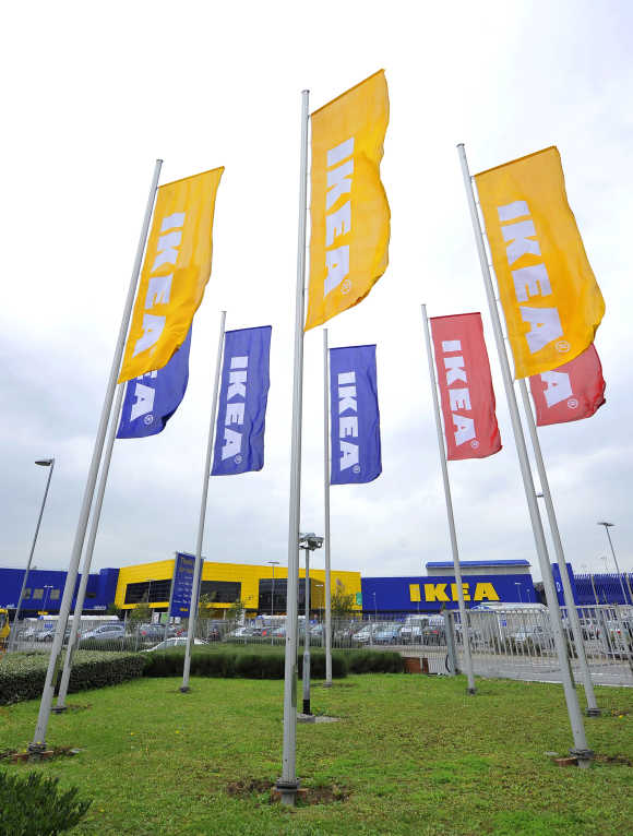 Ikea flags are seen at the Wembley branch of the Swedish international furniture and home accessories company in west London.