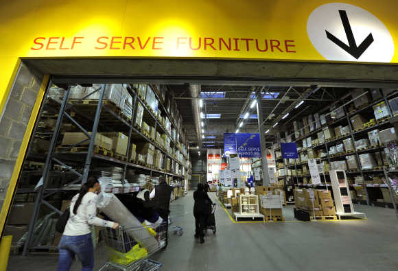 A view of Ikea's self service area at the Wembley branch in west London.