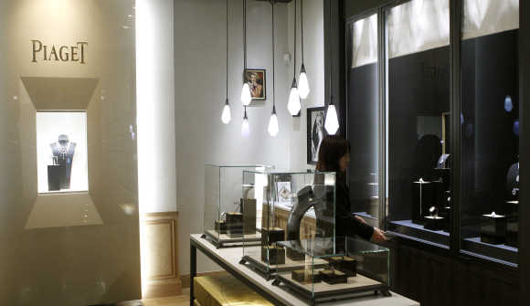 Swiss luxury brand Piaget shop at the Bahnhofstrasse in Zurich.