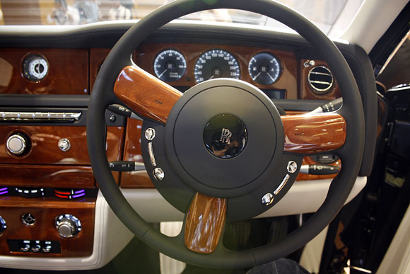 The hand crafted steering wheel.