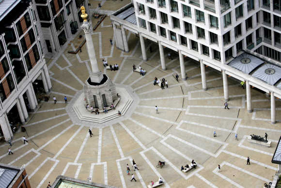 Paternoster Square is seen from the dome of St Paul's Cathedral in London.