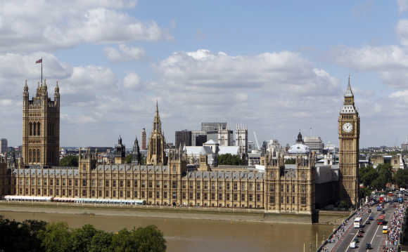 A view of the Houses of Parliament in London.