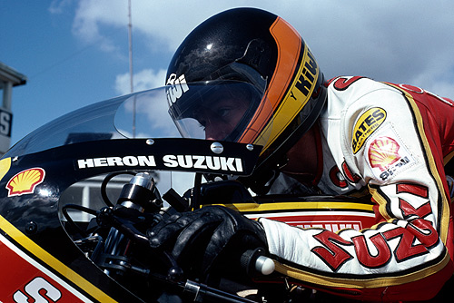 New Zealander Graeme Crosby competing for Heron-Suzuki in the French motorcycle Grand Prix, 500cc class, at the Circuit Paul Ricard, France, 1980.