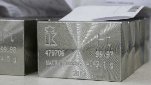 Ingots of 99.97 and 99.98 per cent pure platinum are placed at the Krastsvetmet non-ferrous metals plant in Krasnoyarsk, Russia.