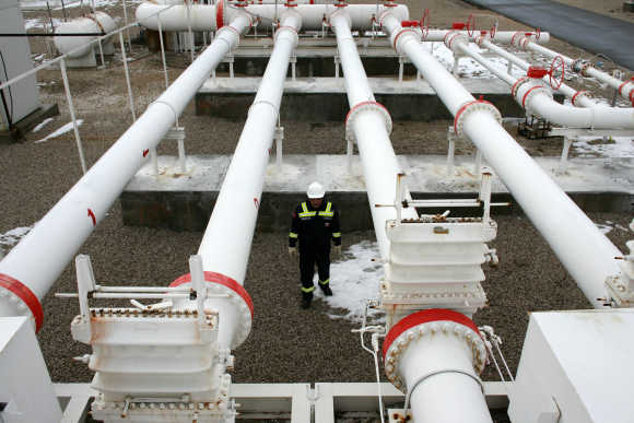 A worker carries out a routine check in a natural gas control centre of Turkey's Petroleum and Pipeline Corporation, 35km west of Ankara.
