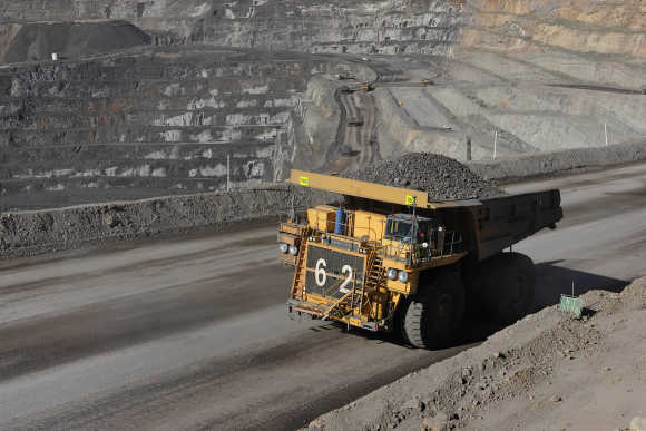 A truck hauls zinc ore at Oz Minerals Century Mine in Lawn Hill near Queensland, Australia.