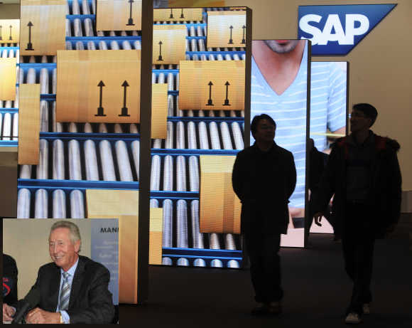 Hans-Werner Hector, inset, co-founder, SAP.