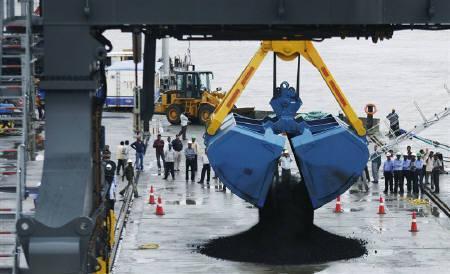 A crane unloads coal from a ship at the Adani Cargo Port at Dahej in Gujarat.