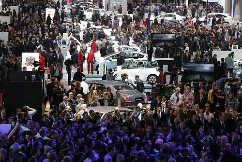 A general view shows one of the exhibition rooms at the Paris Motor Show 2012