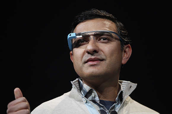 Vic Gundotra, Google's Senior Vice-President, wears a Glass at Moscone Center in San Francisco, California.