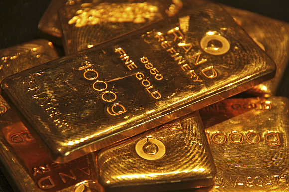 Gold bars are displayed at a jewellery shop in Chandigarh.