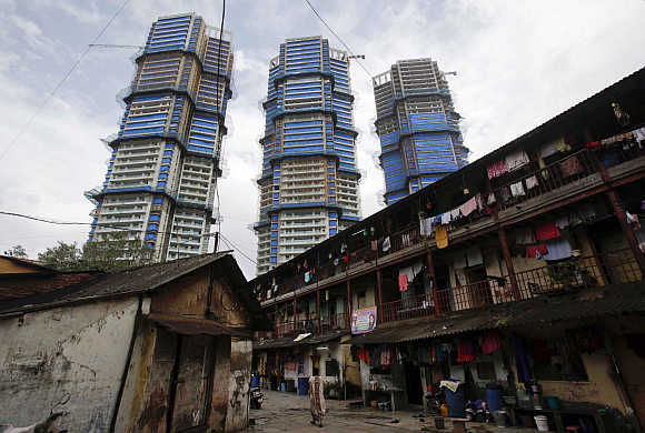 High-rise residential towers under construction in central Mumbai.