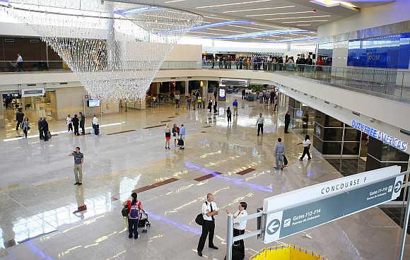 A view of Maynard H Jackson Jr. International Terminal at Hartsfield-Jackson Atlanta International Airport in Atlanta, Georgia, United States.