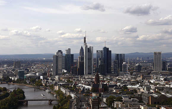 Skyline of Frankfurt from the top floor of the headquarters of the European Central Bank in Germany.