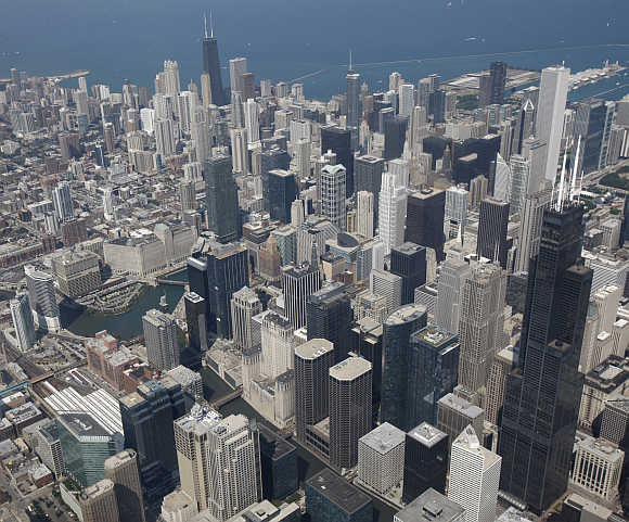 A view of the Chicago skyline in United States.