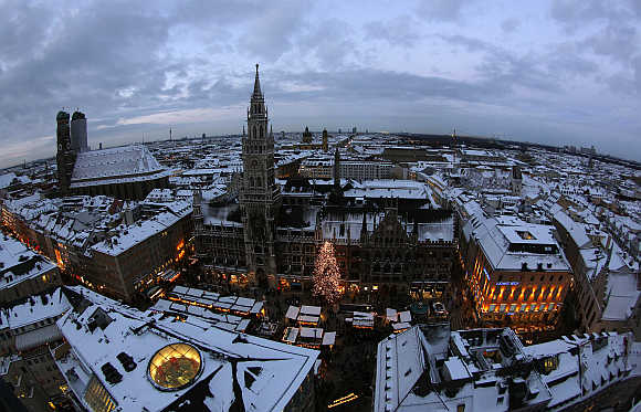 A view of Munich's townhall during the Christmas market, Germany.
