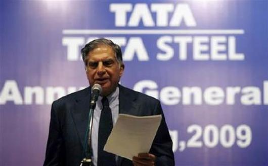 Former Tata Group Chairman Ratan Tata speaks during Tata Steel annual general meeting.