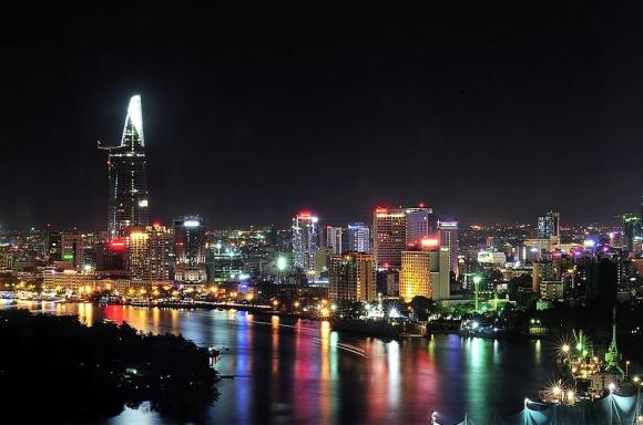 Skyline of Ho Chi Minh, Vietnam largest city.