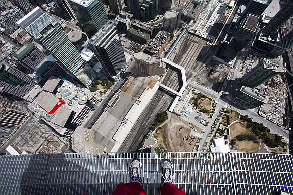 A view from the top of the CN Tower in Toronto, Canada.