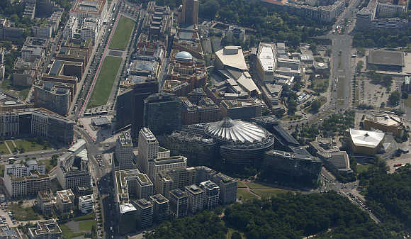 An aerial view of the Sony Center and the Potsdamer Platz in Berlin, Germany.