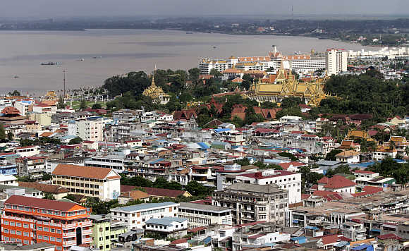 An overview of Phnom Penh city and the Mekong river in Cambodia.