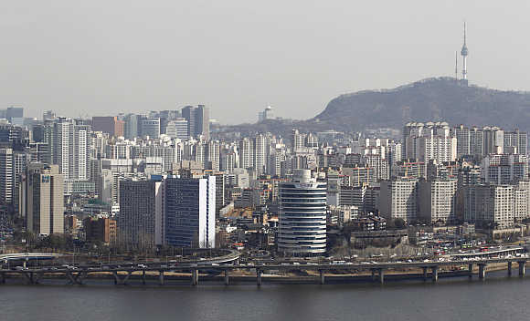 A view shows part of central Seoul in South Korea.