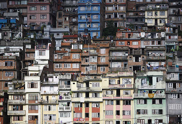 Houses built at the hilltop of the ancient city of Kirtipur are pictured in Kathmandu, Nepal.