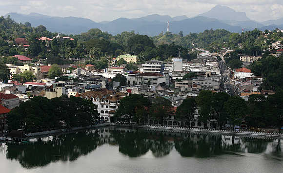 A view of the mountain town and major tourist attraction of Kandy, 116km from Colombo in Sri Lanka.