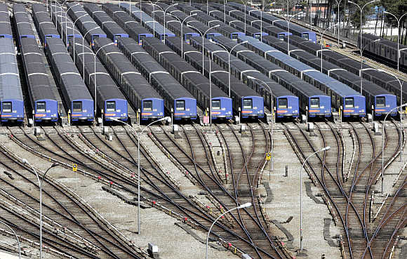 Trains parked in Sao Paulo, Brazil.