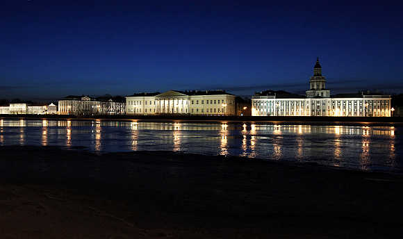 A view of the University embankment in St Petersburg, Russia.