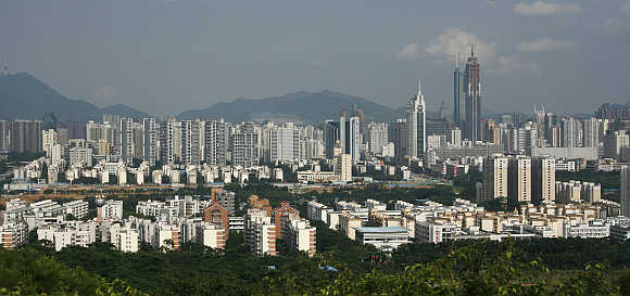 A view of the southern Chinese city of Shenzhen in Guangdong province.