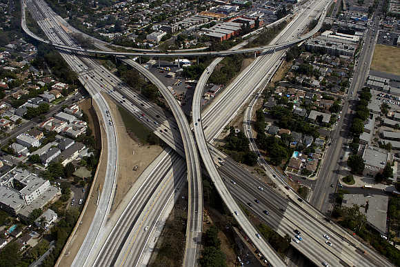 The 405 freeway looking southbound running underneath the 10 freeway in Los Angeles, California