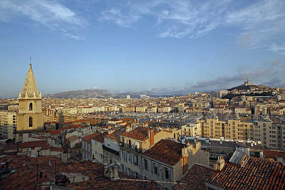 A view of the old Mediterranean port of Marseille in France.