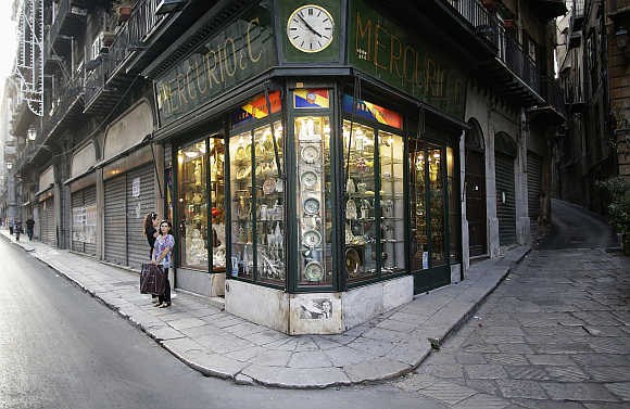 A Sicilian ceramic shop in downtown Palermo, Italy.