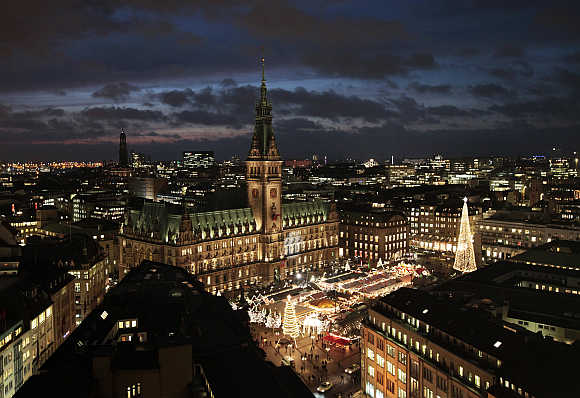A view of the inner city, town hall and the Christmas market in the northern German town of Hamburg.