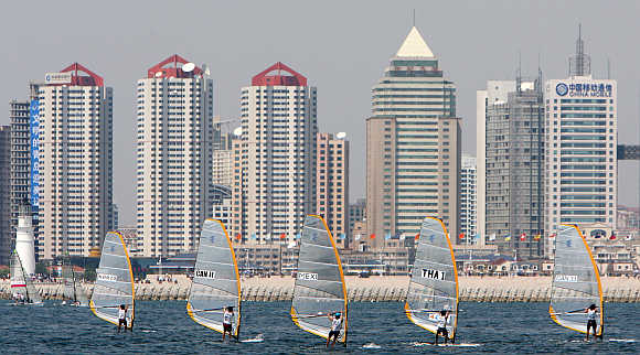 Competitors of the Qingdao International Regatta sailing competition take part in Qingdao, China's eastern province of Shandong.