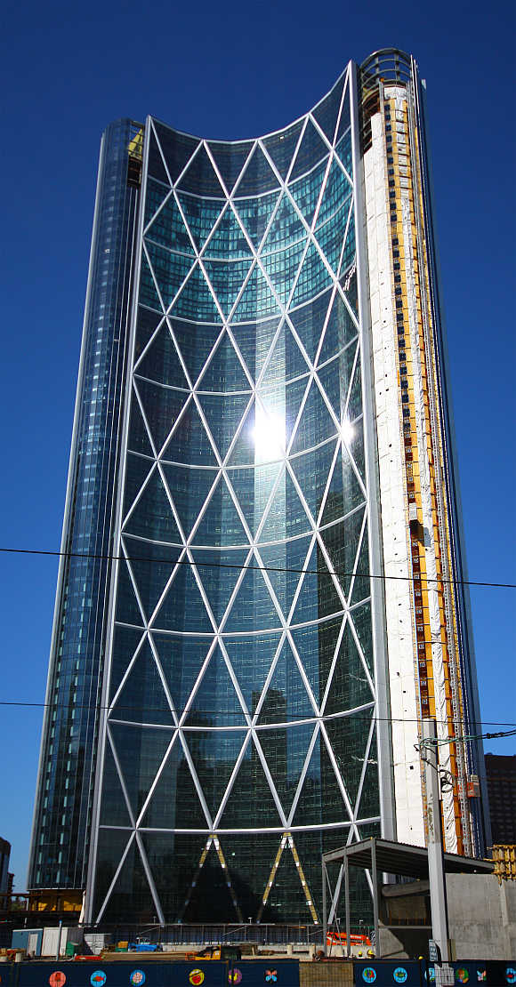 View of the Bow Tower from 7th Avenue S in downtown Calgary, Alberta, Canada.