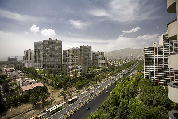 A view of residential buildings in north western Tehran, Iran.