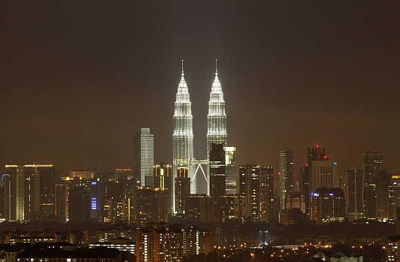 A view of the Petronas Twin Towers in Kuala Lumpur, Malaysia.