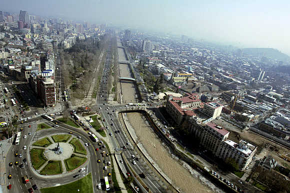A view of Santiago City in Chile.