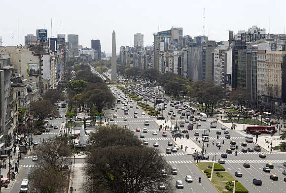 Overview of Buenos Aires' 9 de Julio Avenue with the Obelisk in the background in Argentina.