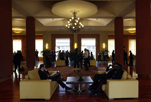 A view of the lobby of Munyonyo Commonwealth Resort in Munyonyo, Uganda.