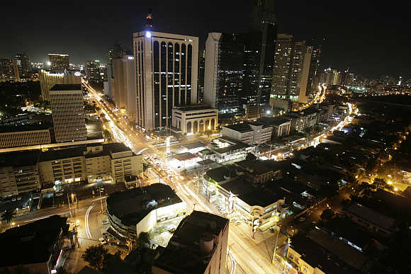 A night view of Manila's Makati financial district in the Philippines.