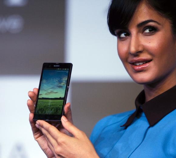 Bollywood actress Katrina Kaif displays the Sony Xperia Z high-end smartphone.