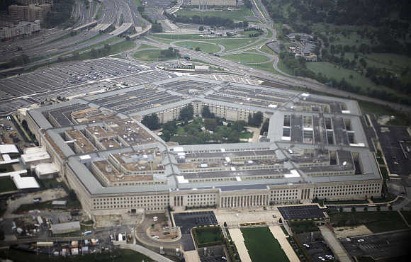 A view of the United States's military headquarters, the Pentagon, in Arlington County, Virginia.
