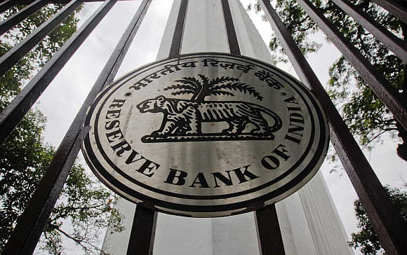 Reserve Bank of India's logo outside its head office in Mumbai.