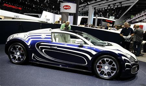 The Bugatti Veyron L'Or Blanc is seen at the International Motor Show in Frankfurt.